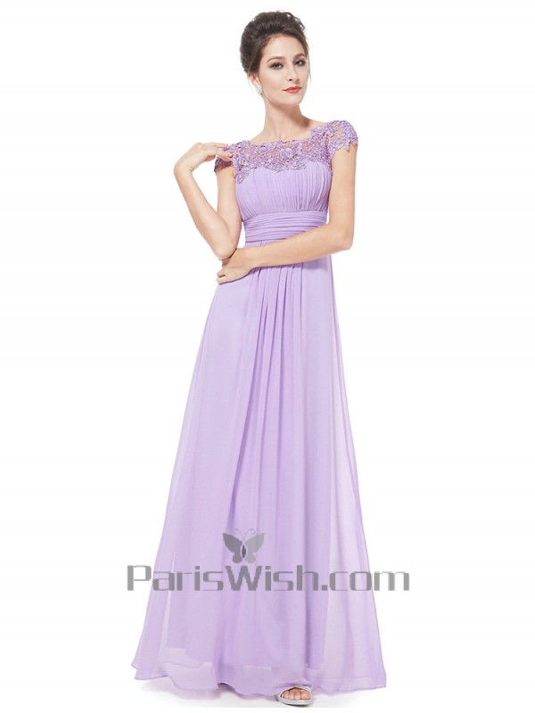 Chiffon Beaded Lace Cap Sleeves Lilac Best Bridesmaid Dresses