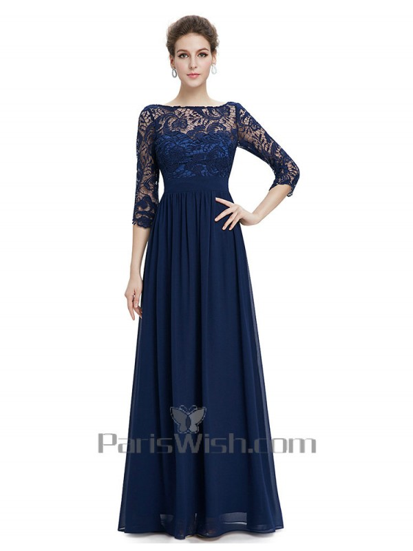 Chiffon Beteau Navy Sleeve Bridesmaid Dress With Lace Top