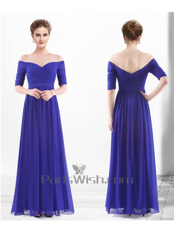 Crinkle Chiffon Royal Blue Off The Shoulder Bridesmaid Dresses With ...