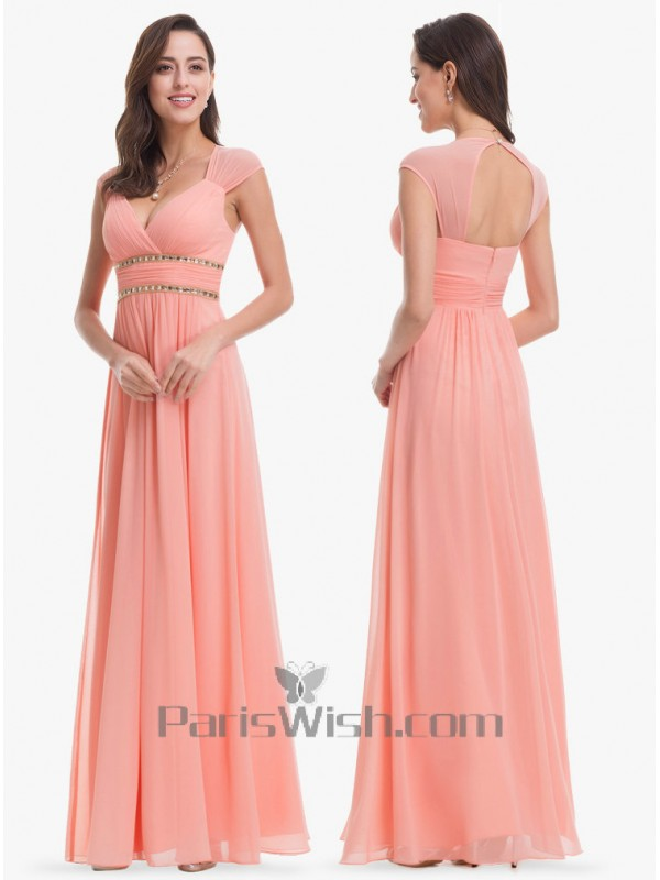 Sleeveless Sweetheart Long Coral Bridesmaid Dress With Open Back