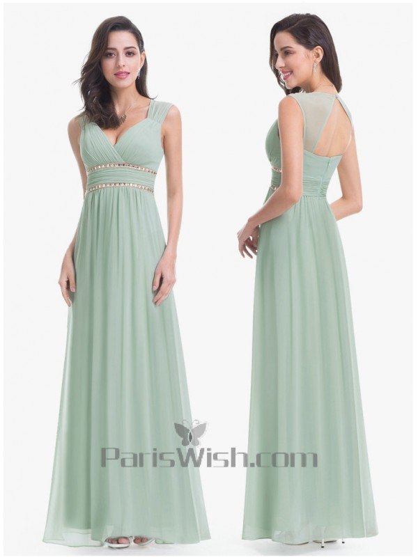 33e02b1a59c Sleeveless Sweetheart Long Light Green Bridesmaid Dress With Open Back