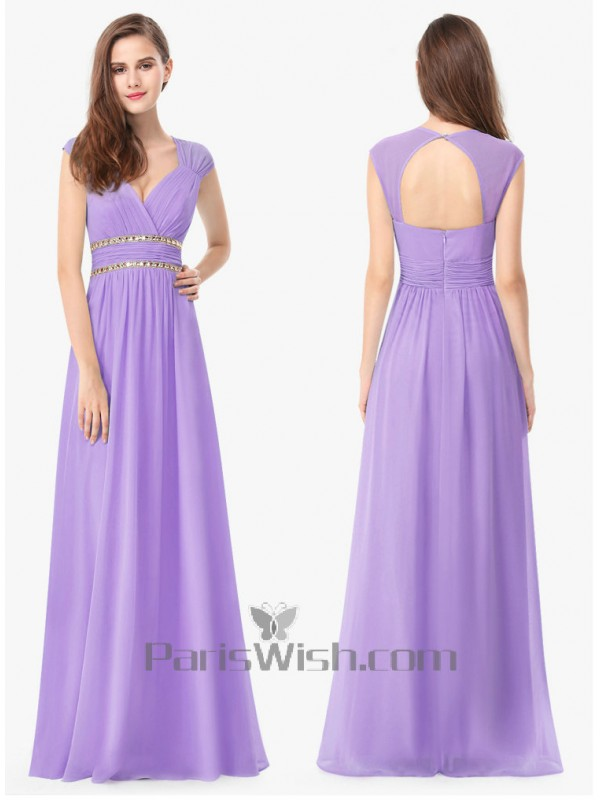 e060158aa797 Sleeveless Sweetheart Long Light Purple Bridesmaid Dress With Open Back