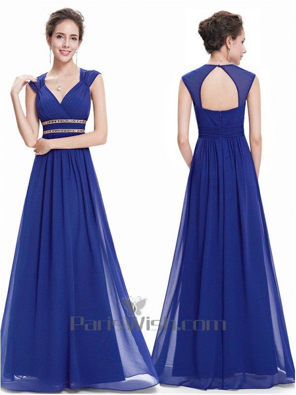 Sleeveless Sweetheart Long Royal Blue Bridesmaid Dress With Open Back,Corset For Wedding Dresses