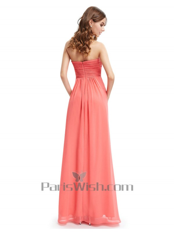 58e261781b7 Sweetheart Crinkle Strapless Coral Maternity Bridesmaid Dresses With Empire  Waist