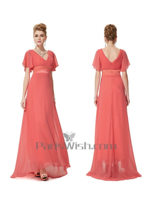 58ff599a68b2 V Neck Crinkle Chiffon Flutter Sleeves Coral Bridesmaid Dresses With Empire  Waist
