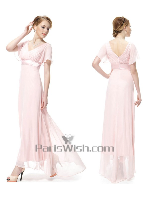 3c9d896c45c6 V Neck Crinkle Chiffon Flutter Sleeves Pink Bridesmaid Dresses With Empire  Waist