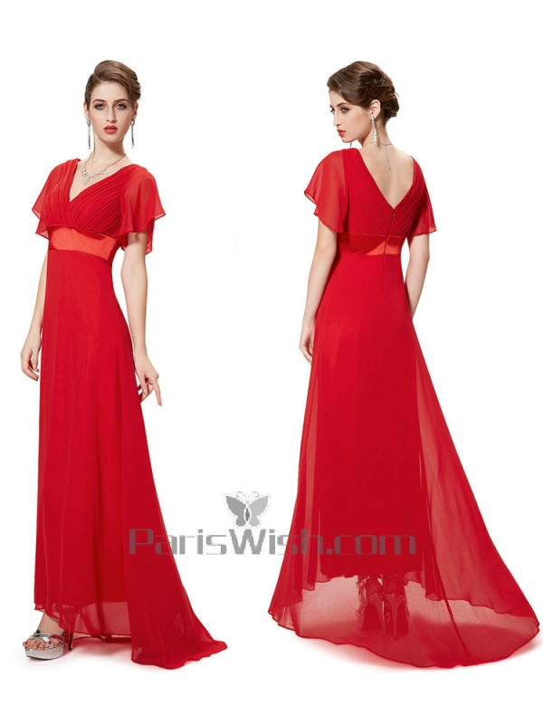 V Neck Crinkle Chiffon Flutter Sleeves Red Bridesmaid Dresses With ...