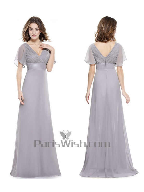 V Neck Crinkle Chiffon Flutter Sleeves Silver Bridesmaid Dresses With Empire Waist