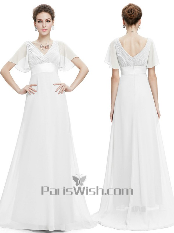 V Neck Crinkle Chiffon Flutter Sleeves White Bridesmaid Dresses With Empire Waist