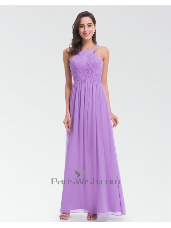 Chiffon Crinkle Long Lilac Bridesmaid Dresses 2018