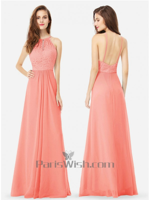 Chiffon Lace Coral Bridesmaid Dress With Low Back
