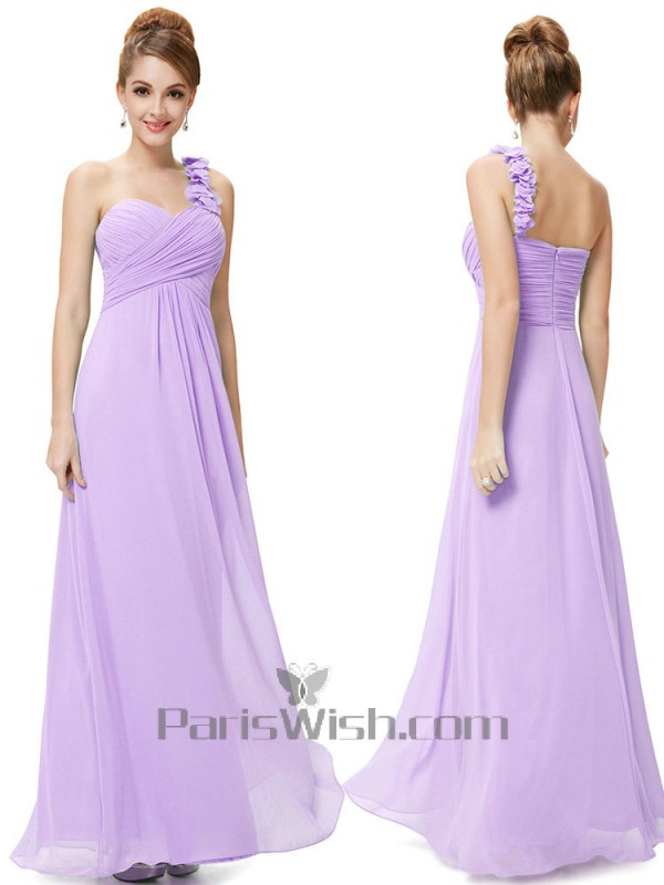 new lower prices latest trends website for discount Chiffon Ruched Empire One Shoulder Lavender Bridesmaid Dresses