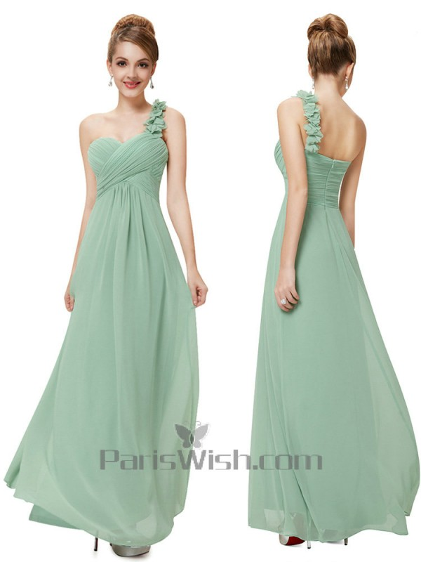 Chiffon Ruched Empire One Shoulder Light Green Bridesmaid Dresses