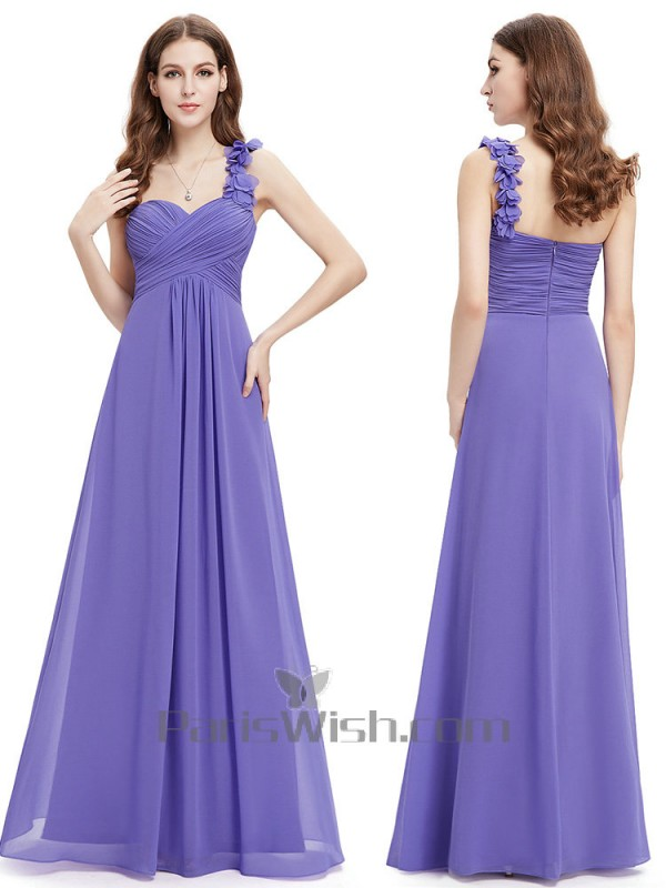 8aa8032c04b Chiffon Ruched Empire One Shoulder Regency Bridesmaid Dresses