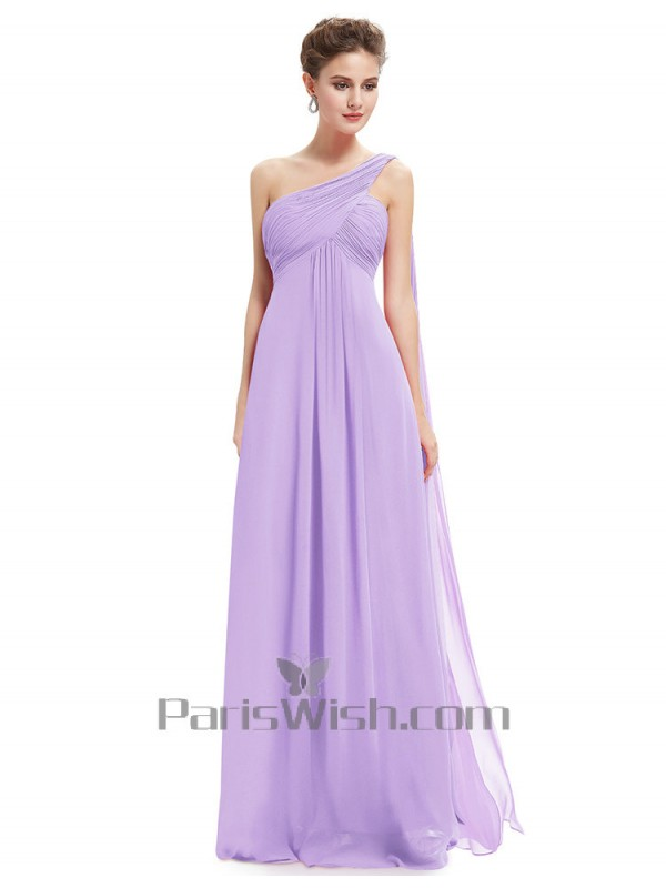 71c434add879b Crinkle Chiffon Long One Shoulder Maternity Bridesmaid Dresses Lavender