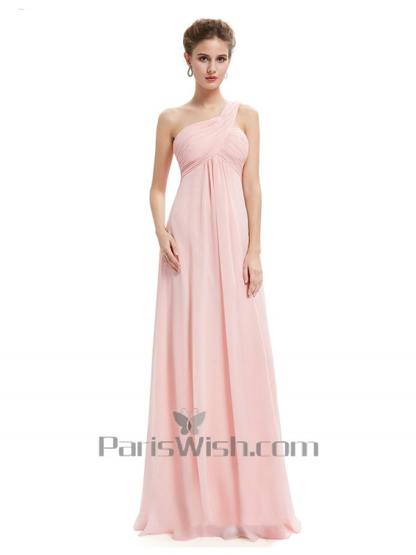 Crinkle Chiffon Long One Shoulder Maternity Bridesmaid Dresses Pink