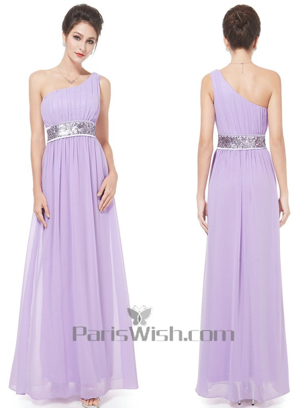 Crinkle Chiffon One Shoulder Lavender Bridesmaid Dress With Beading Waist
