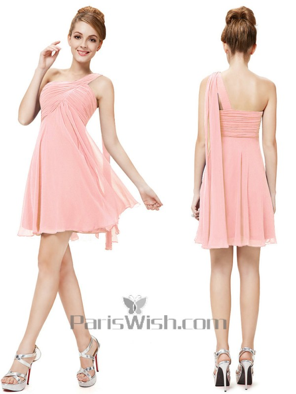 Crinkle Chiffon One Shoulder Maternity Bridesmaid Dresses Pink