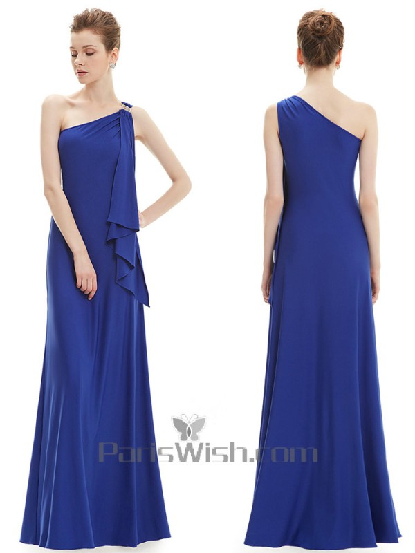f1d5179dca0 Silky Satin Slinky One Shoulder Dark Royal Blue Bridesmaid Dress