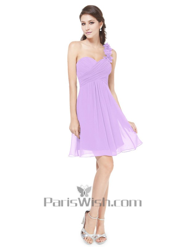 Sweetheart Crinkle Chiffon One Shoulder Short Bridesmaid Dresses ...