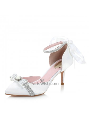 Ankle Strap Pointed Toe Bow Wedding Shoes With Back Tie