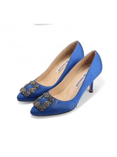Pointed Toe Royal Blue Wedding Heels With Brooch