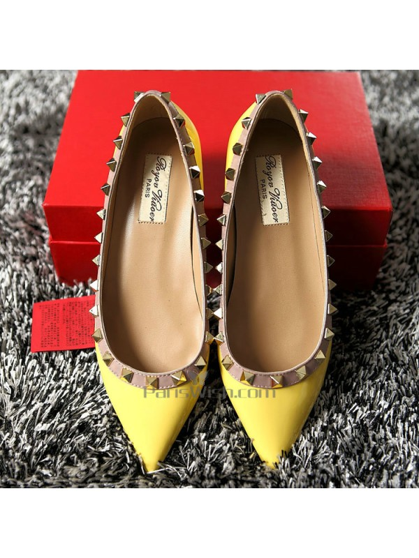 cdebb51d77f Pointed Toe Studded Yellow Flat Wedding Shoes Online