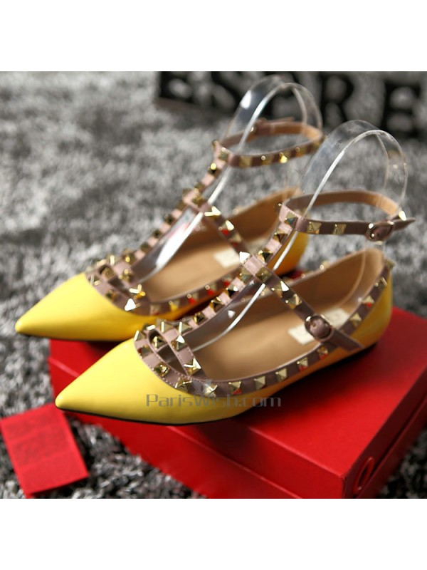 5d408a27d2ebe1 Satin Pointed Studded Ankle Strap Yellow Flat Wedding Shoes Online