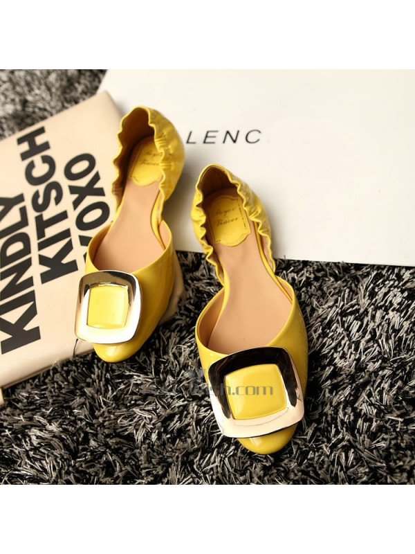 9eaf7c8e05c7 Two Part Leather Comfortable Yellow Wedding Shoes Flats Online