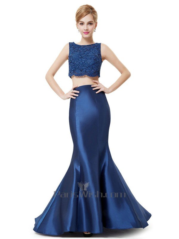 High Neck Mermaid Crop Top Two Piece Prom Dresses Royal Blue Online