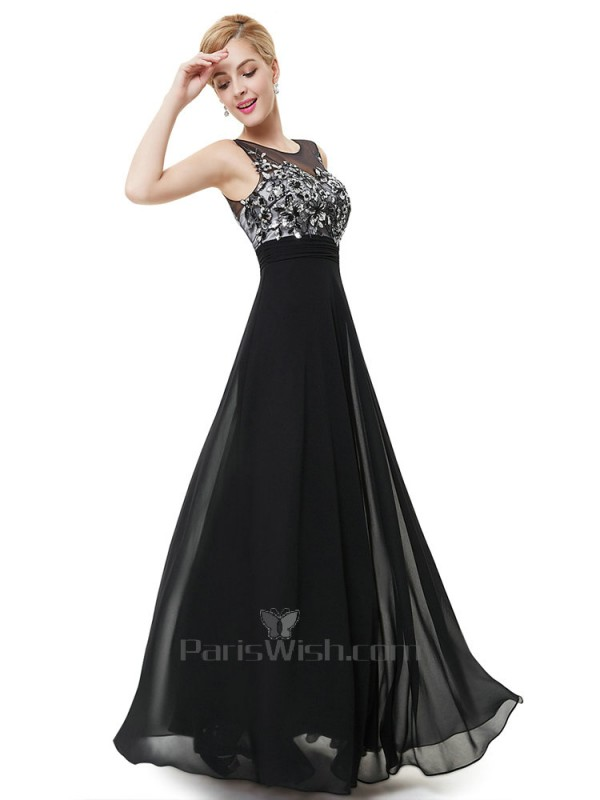 Illusion Sequin Black And Silver Prom Dresses With Open Back Online