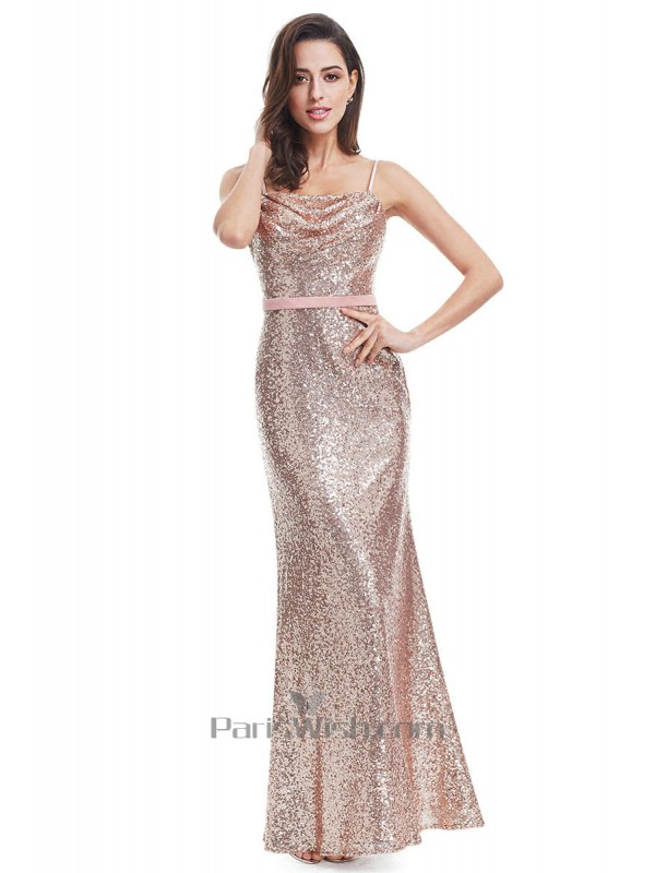 Spaghetti Cowl Neck Sequin Prom Dresses With Low Back Online
