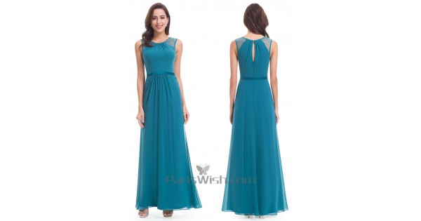 cc9136b0d11f Chiffon Floor Length Turquoise Bridesmaid Dress With Back Slit