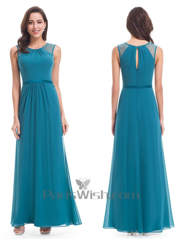 Chiffon Floor Length Turquoise Bridesmaid Dress With Back