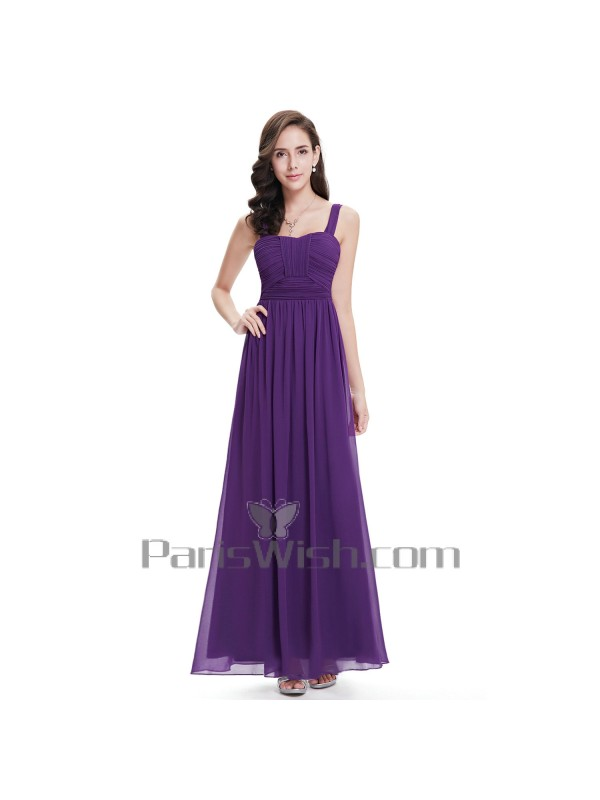 Crinkle Chiffon Long Purple Bridesmaid Dresses With Straps