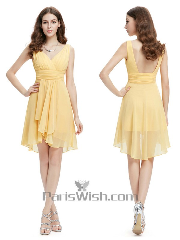 b07d0ca4884 Crinkle Chiffon Short V Neck Yellow Bridesmaid Dresses