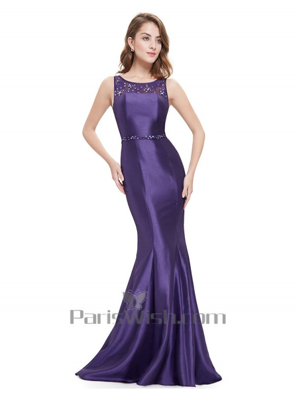 e22e6261f8f4 Illusion Satin Lace Purple Mermaid Bridesmaid Dresses