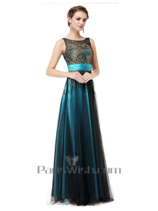 Illusion Sequin Full Length Blue And Black Bridesmaid Dresses