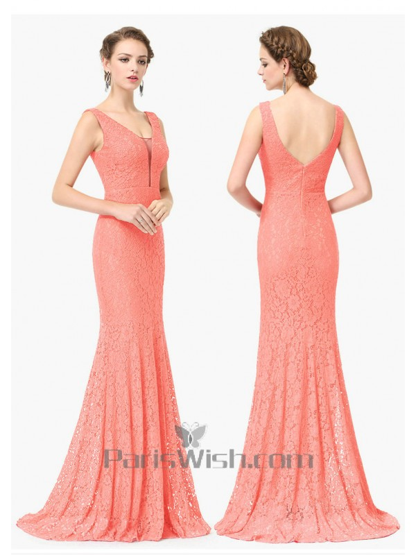Coral Lace Bridesmaid Dress