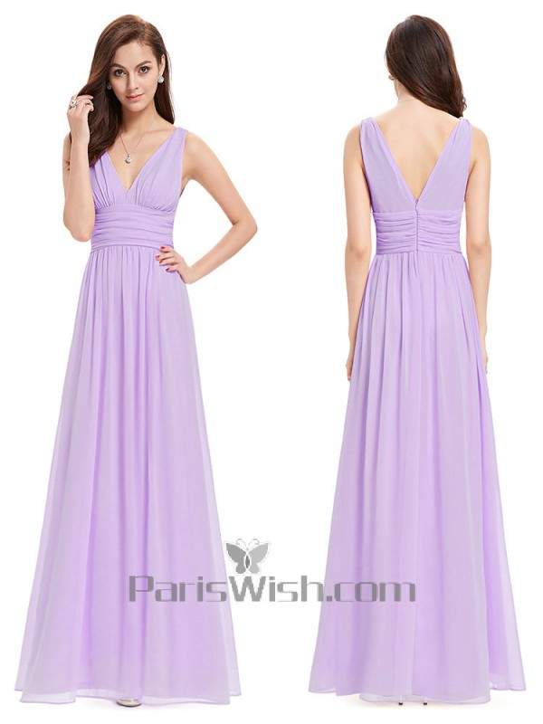 cb9174efdef V Neck Crinkle Cheap Long Bridesmaid Dresses Under 100 Light Purple