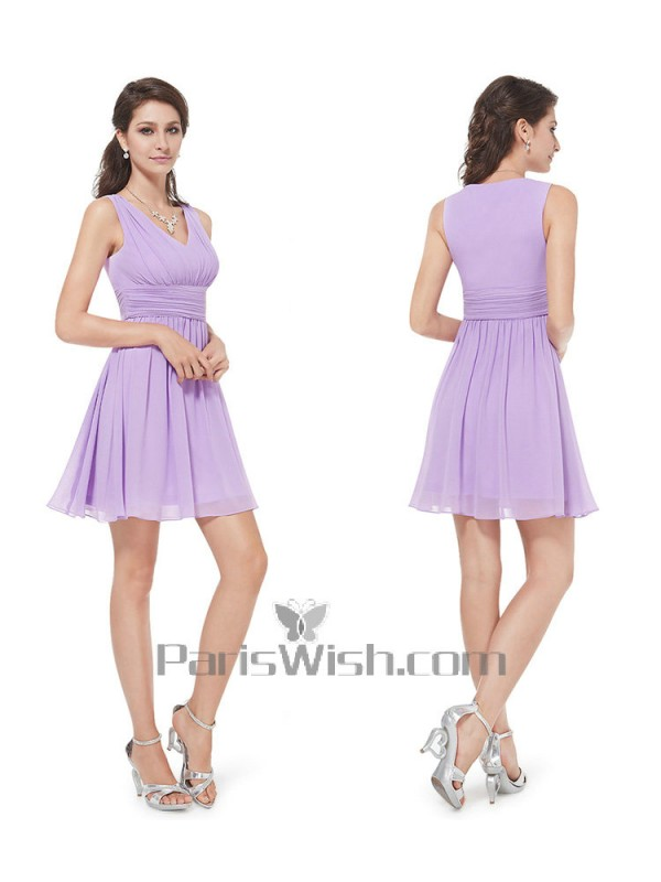 c2d7aefd89b V Neck Crinkle Chiffon Short Bridesmaid Dresses Light Purple