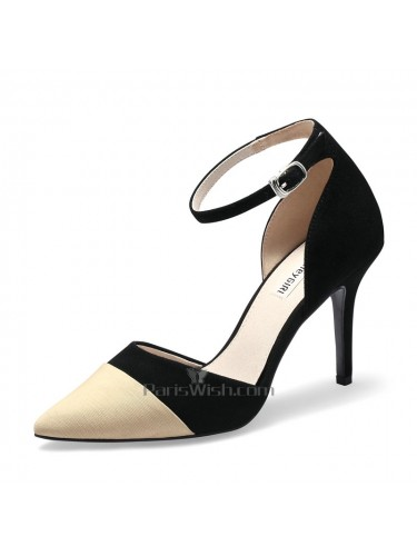Color Block Ankle Strap Pointed Toe Two Tone Wedding Shoes
