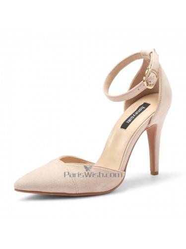 High Heel Ankle Strap Pointed Nude Wedding Heels