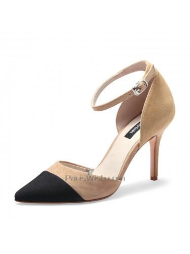 Pointed Toe Ankle Straps nude And Black Wedding Shoes