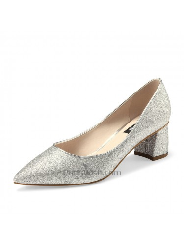 Pointed Toe Glitter Chunky Prom Shoes Silver