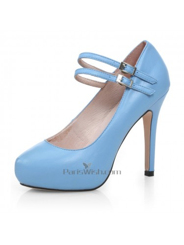 Round Toe Ankle Straps Blue Prom Shoes