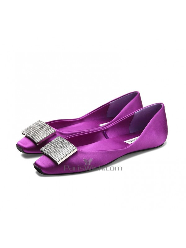 Satin Flat Purple Wedding Shoes With Brooch Online