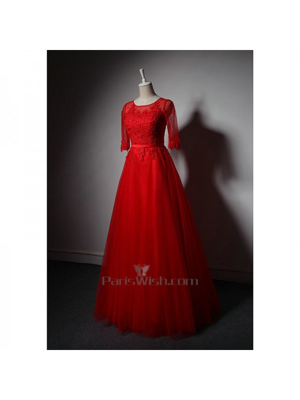 Tulle Embroidery Lace Half Sleeves Red Plus Size Prom Dresses Mother Of The  Bride Gowns