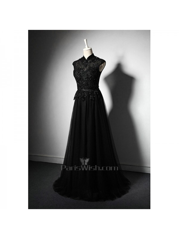 Tulle High Collar Illusion Black Vintage Prom Dresses Mother Of The ...