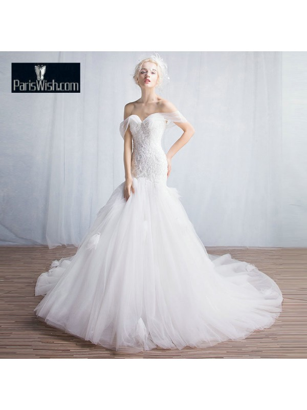 Tulle Sweetheart Trumpet Wedding Gowns With Royal Train Online